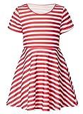 RAISEVERN Toddler Girls Short Sleeve Dress Red and White Striped Dress Summer Dress Casual Swing Theme Birthday Party Sundress Toddler Kids Twirly Skirt