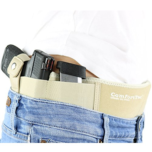 ComfortTac Ultimate Belly Band Holster 2.0 - New 2017 - Fits Glock 19 43 26 Smith and Wesson MP Shield Bodyguard Ruger LC9 Sig Sauer More - Carry IWB OWB Appendix (XL (Belly: Up to 53'), Right)