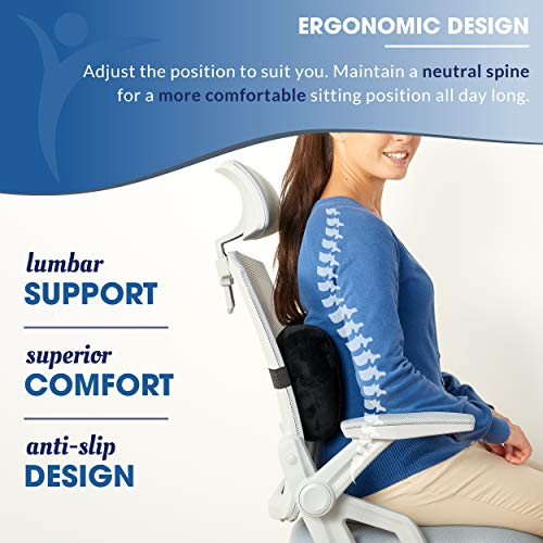 Product Image 6: Relax Support RS7-X Office Chair Back Support Pillow - Medium Firm Memory Foam Lumbar Cushion - Promotes Spinal Alignment & Better Posture - Non-Slip Strap, Washable Cover - Fits Wheelchair, Recliner