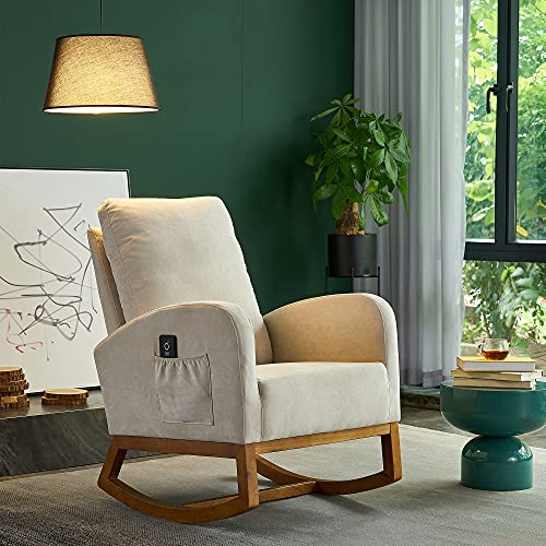 TITA-Dong Upholstered Rocking Chair,Fabric Accent Armchair Wooden Padded Seat with 2-Side Pocket,Mid Century Modern Nursery Rocking Chair for Indoor Living Room