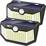 Hmcity Solar Lights Outdoor 120 LED with Lights Reflector and 3 Lighting Modes, Motion Sensor Security Lights,IP65 Waterproof Solar Powered for Garden Patio Yard (2Pack)