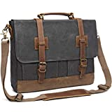 Messenger Bag for Men 15.6inch Waterproof Waxed Canvas Genuine Leather Briefcase Computer Laptop Bag Large Satchel Shoulder Bag Grey