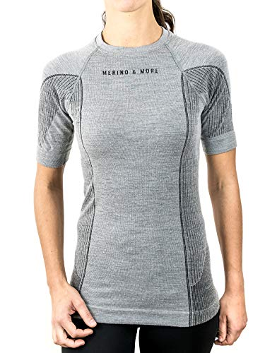 Merino & More Merino Shirt Damen - Premium Funktionsunterwäsche aus hochwertiger Merinowolle - Sport - Funktionsshirt - Kurzarm hellgrau Gr. M