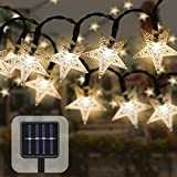50LED Solar Fairy Lights Outdoor,Waterproof Solar Star String Lights for Garden Patio Party Christmas Weeding Valentine's Day Decoration (Warm White)