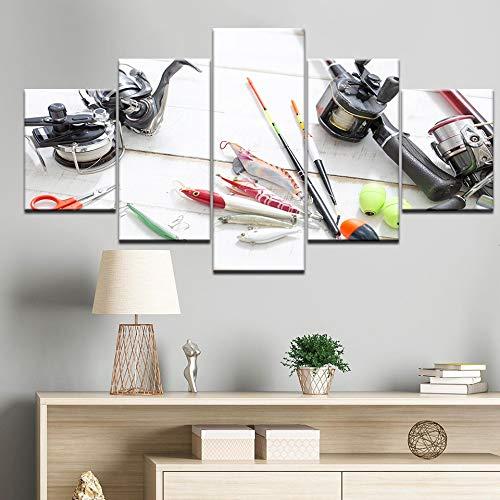 PEJHQY 5 Pezzi Moderni allungati Canna da Pesca in Mare Esca da Pesca Stampe su Tela Immagini Immagini Dipinti su Tela Wall Art