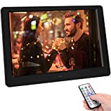 TENSWALL Digital Photo Frame, 10.1 inch Digital Picture Frame with Background Music, 1080P Video HD 1280x800 16:10 IPS Screen, Support 32GB USB Drives/SD Card, Remote Control -Black