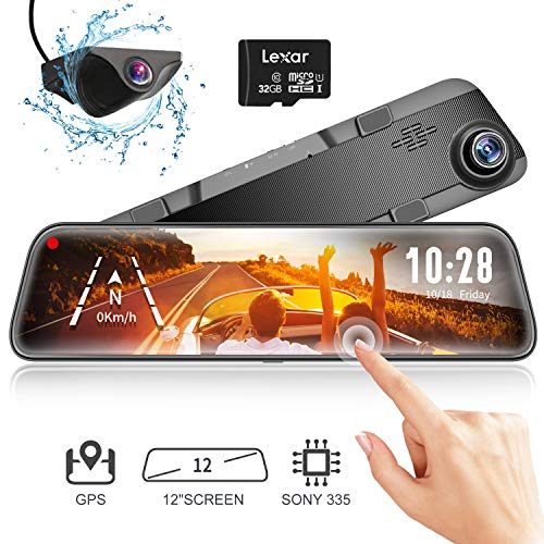"""Mirror Dash Cam Backup Camera,12"""" IPS Full Touch Screen,1296P HD Dual Lens Smart Rear View Mirror for Cars & Trucks, Sony IMX335 HDR Stream Media with Night Vision & G-Sensor, 32GB TF Card Included"""