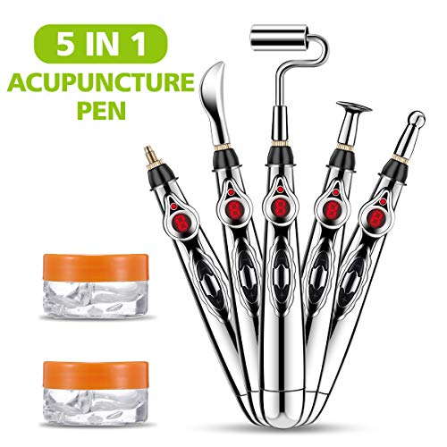 Acupuncture Pen LIUMY 5 in 1 Electronic Acupuncture Pen with Replaceable Massage Head, Multi-Function Massage Pen Tools for Pain Relief, Meridian Energy Pulse Massage (with 2 Gel)