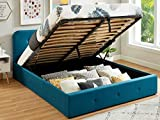 HOMIFAB Lit Coffre 160x200 cm Bleu Canard avec tête de lit + sommier à...