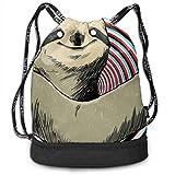 PmseK Mochila con Cordón,Bolsas de Gimnasia, Cool Sloth Drawstring Backpack Bags Shoulder Bags