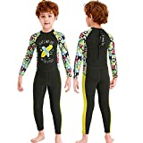 NATYFLY Kids Wetsuit,2.5mm Neoprene Thermal One Piece Swimsuit,Boys Girls and Toddler Wet Suits for Scuba Diving,Youth Full Suit (Dark Green, 2X-Large/7-8Years Old)