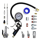 YOTOO Heavy Duty Air Compressor Accessory Kit 20-Piece, 1/4' NPT Air Tool Kit with 100 PSI Tire Inflator Gauge, Heavy Duty Air Blow Gun and Air Hose Fittings
