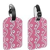 Yitian Paquete de 2 etiquetas de cuero para bolsas de viaje con textura floral rosa