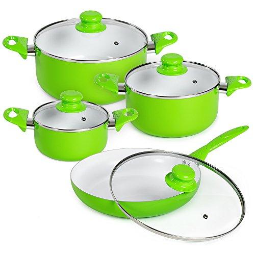 TecTake 8 teiliges Keramik Kochtopf Set mit Glasdeckel -Diverse Farben- (Grün)