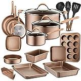 NutriChef NCCW20S.5 20-Piece Nonstick Cookware PTFE/PFOA/PFOS-Free Heat Resistant Lacquer Kitchen...