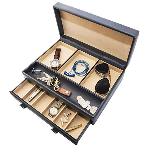 Stock Your Home Luxury Mens Dresser Valet Organizer for Watches, Jewelry and Accessories - Large Jewelry Holder and Display Case (Black)