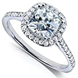 Kobelli Cushion-cut Moissanite Engagement Ring 1 1/3 CTW 14k White Gold, Size 8.5