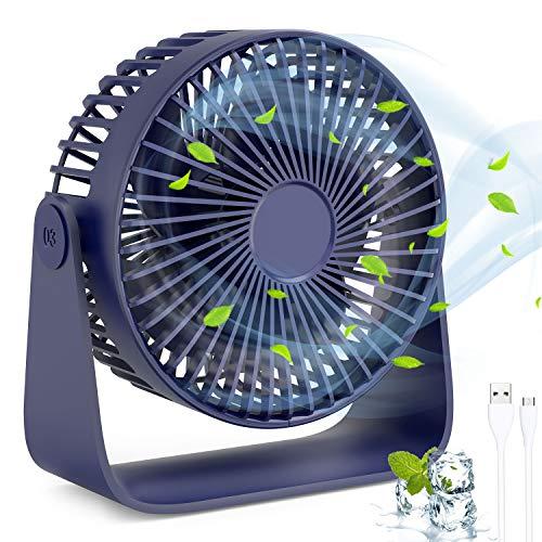 Ventilator, TedGem USB Ventilator Mini USB Tischventilator Lüfter USB 360 Grad Einstellbarer, 3 Geschwindigkeiten Kann Aromatherapie-Öle Setzen, Tischventilator Fan für Büro, Zimmer, Zuhause(Blau)