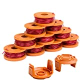 Durable WA0010 Weed Eater String Combo Set Compatible with Worx WG163, WG180 Trimmers, Easy to Install(10 Spools & 2 Caps)