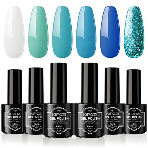 Gel Nail Polish Sets, 6 Colors Gel Polish Kit,Blue Ocean Series ,Glitters Nail Art Design Home Gel Manicure Kit , Long-lasting