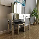 Mecor Mirrored Makeup Dressing Table w/Tri-fold Mirror&Cushioned Stool Silver Vanity Table Set with 2 Drawers Modern Writing Desk for Bedroom Bathroom Home Office
