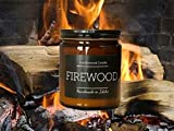 FIREWOOD - Crackling Wood Burning Fireplace Candle in Amber Jar with Black Lid 9 oz .Since 2012