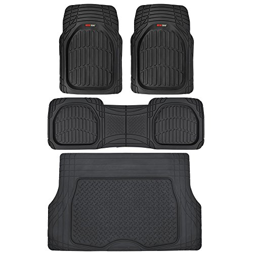 Motor Trend 4pc Black Car Floor Mats Set Rubber Tortoise Liners w/ Cargo for Auto SUV Trucks - All Weather Heavy Duty Floor Protection - MT-923-BK+MT-884-BK_amj