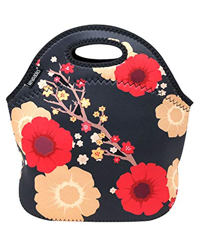 ALLYDREW Insulated Neoprene Lunch Bag Zipper Lunch Box Tote, Blossoms Dark