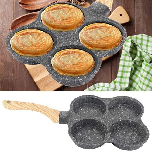 Padella per Frittata a 4 fori, Padella per Pancake Antiaderente Colazione Salutare Padella per Uova in Alluminio per Fornello a gas, fornello a induzione, fornello elettrico in ceramica