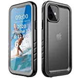Cozycase Compatible with iPhone 12 Pro Waterproof Case, Full-Body Rugged Dustproof Shockproof Snowproof Cover Bumper Case with Built-in Screen Protector Design for iPhone 12 Pro 6.1 inch 2020-Black