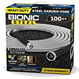 Bionic Steel 100 Foot Garden Hose 304 Stainless Steel Metal Water Hose – Super Tough & Flexible, Lightweight, Crush Resistant Aluminum Fittings, Kink & Tangle Free, Rust Proof, Easy to Use & Store