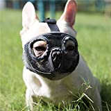 JYHY Short Snout Dog Muzzles- Adjustable Breathable Mesh Bulldog Muzzle for Biting Chewing Barking Training Dog Mask (M(11'-17')/ Grey(Eyehole))
