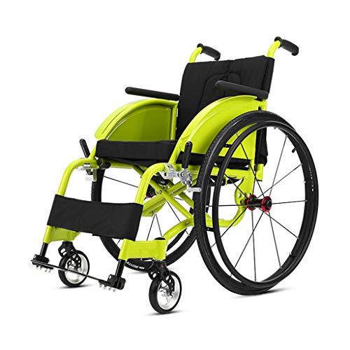 Wheelchair LT Deportes y Ocio, Silla de Ruedas Plegable portátil de Silla de Ruedas de Transporte Amortiguador Trasero liberación rápida de Aluminio Ligero,Verde