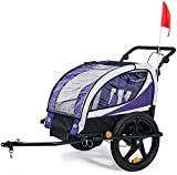 Chariot de jogging pour enfants 2-en-1 pour remorque de vélo pour enfants, peut être suspendu,Purple