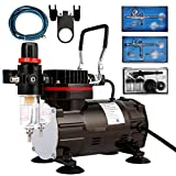 VIVOHOME 110-120V Professional Airbrushing Paint System with 1/5 HP Air Compressor and 3 Airbrush Kits for Tattoo Makeup Shoes Cake Decoration Black ETL Certified …