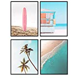 Ocean Art Print Set - Tropical Palm Trees and Surfing Wall Art Posters - Unique Home Decor for Lake or Beach House, Bathroom - Gift for Surfers - 8x10 Photo Unframed