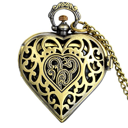 JewelryWe Vintage Heart Locket Style Steampunk Pocket Watch Pendant Long Necklace 31.5 Inch Chain (with Gift Bag) (Jewellery)