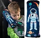 HECKBO® espace astronaute voiture coussin enfants -lavable en machine -doux -haute qualité, housse de ceinture, coussin ceinture de sécurité, protege-ceinture, coussin de voyage, vacances -30cmx12cm