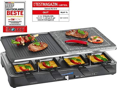 Clatronic RG 3518 Raclette-Grill mit heißem Stein zum Grillen und Überbacken, Wendegussplatte, 8 Pfännchen, 8 Holzspatel, antihaftbeschichtet