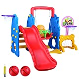 LAZY BUDDY 5 in 1 Toddler Slide and Swing Set, Kids Freestanding Climber Playground, Safe Children Activity Center for Indoor&Backyard, with 2 Adjustable Ball Hoops, Football Gate, 2 Packages Delivery