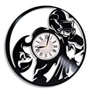 The clock is made with the USED vinyl record 12 inches in diameter Clock face is the glossy sticker 1AA battery is required (not included) Quartz mechanism is silent and reliable The clock has a strong hook on the back for easy mounting