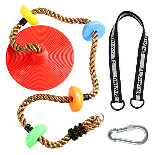 Climbing Rope Tree Swing with Platforms and Disc Swing Seat Set...