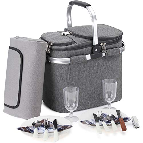 Large Insulated Picnic Basket Set, 20L Leakproof Collapsible Portable Cooler Bag with Aluminium Handle for Travel, Shopping, Camping, Attach with Waterproof Blanket and 2 Person Cutlery Set Grey…