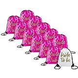 Bride & Bride Tribe Drawstring Bags (12, Pink)