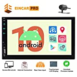 Eincar Android 10 Head Unit Double 2 Din Car Radio Quad Core 7' HD Capacitive Touch Screen GPS Navigation Stereo System Support Bluetooth 1080P Mirrorlink Reverse Camera WiFi 4G USB TF