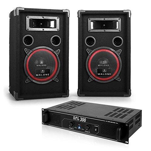 SET DJ'SOUNDBASH' Amplificatore finale di potenza + coppia casse passive (casse 2 x 200 Watt EMS, ampli 300 Watt, cavo per altoparlanti)