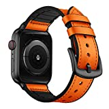 OUHENG Compatible with Apple Watch Band 42mm 44mm, Sweatproof Genuine Leather and Rubber Hybrid Band...