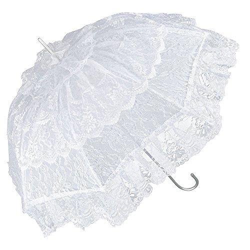 VON LILIENFELD Ombrello da sposa matrimonio parasole donna Melissa bianco