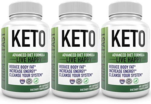 Trim Fast Keto Pills - Live Happy Keto Body Trim Fast Burn Supplement for Energy - BHB Ultra Boost Exogenous Ketones for Rapid Ketosis for Men Women- goBHB (3 Pack) 1