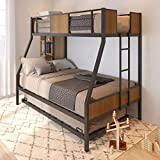 Olela Twin Over Full Metal Bunk Beds with Trundle Bed ,Heavy Duty Metal Bed Frame with Safety Rail 2 Side Ladders for Boys Girls Adults,No Box Spring Needed (Black Frame)